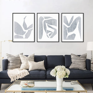 Gallery Wall Trio of Soft Grey Abstract Art Prints from Gallery Wallrus | Eclectic Wall Art & Decor with Worldwide Shipping