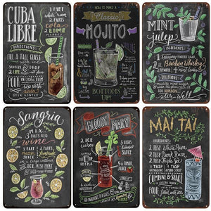Blackboard Cocktails Metal Wall Signs from Gallery Wallrus | Eclectic Wall Art & Decor with Worldwide Shipping