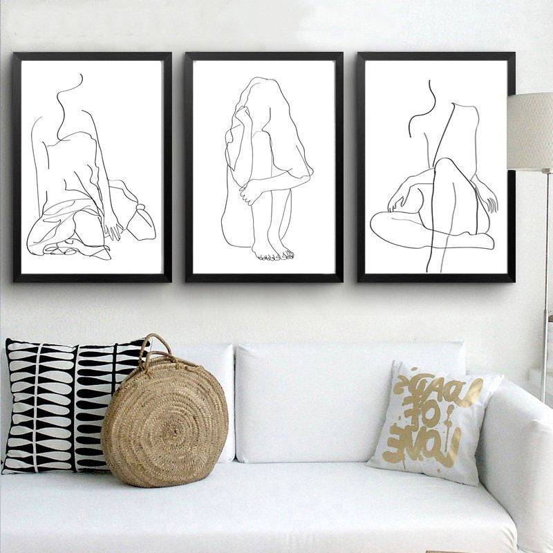 Gallery Wall Trio of Female Line Drawings from Gallery Wallrus | Eclectic Wall Art & Decor with Worldwide Shipping