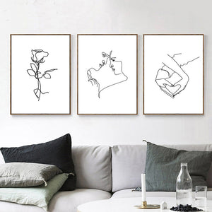 Gallery Wall Trio of Love inspired Line Drawings from Gallery Wallrus | Eclectic Wall Art & Decor with Worldwide Shipping