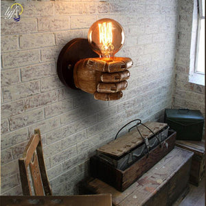Wooden Fist Bulb Wall Lamp from Gallery Wallrus | Eclectic Wall Art & Decor with Worldwide Shipping