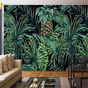Palm Pineapple Tree Tropical Leaves Wall Mural Watercolor painting of green tropical leaves. usd