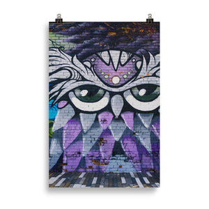 Purple Owl Matte Card Art Print from Gallery Wallrus | Eclectic Wall Art & Decor with Worldwide Shipping