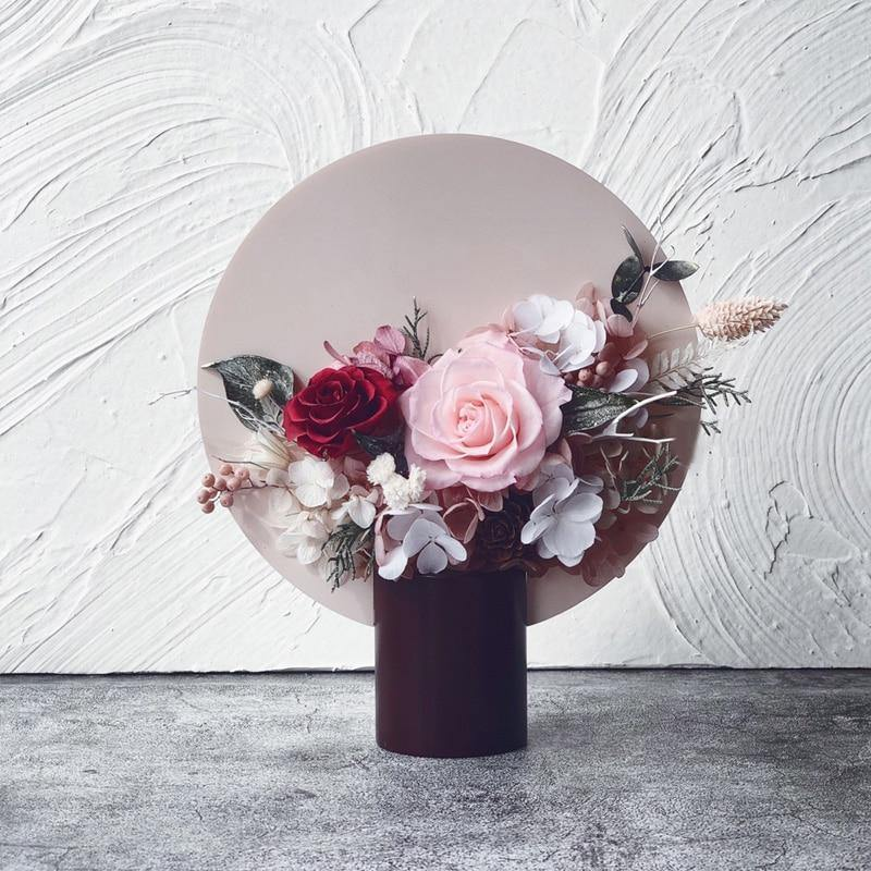 Cute Color Flower Vase with Round Backdrop from Gallery Wallrus | Eclectic Wall Art & Decor with Worldwide Shipping