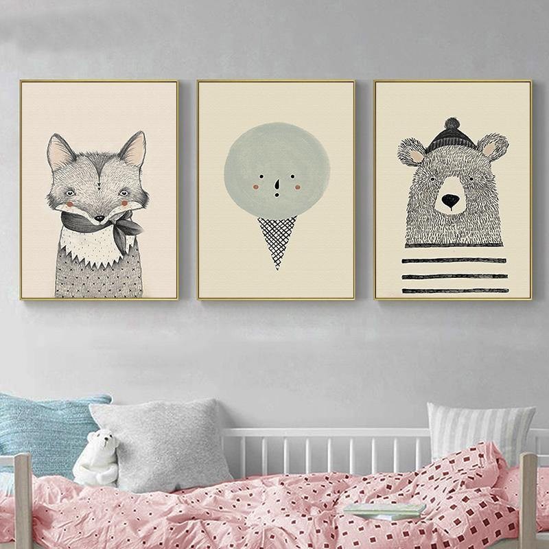 3 x Childrens Bedroom Cool Animal Art Prints from Gallery Wallrus | Eclectic Wall Art & Decor with Worldwide Shipping