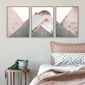 Gallery Wall of Pink and Grey Abstract Mountain Artwork from Gallery Wallrus | Eclectic Wall Art & Decor with Worldwide Shipping