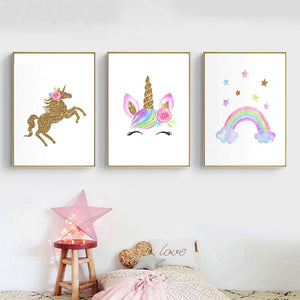 Gallery Wall Trio of Girls Bedroom Unicorn Rainbow Prints from Gallery Wallrus | Eclectic Wall Art & Decor with Worldwide Shipping