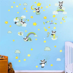 Sleeping Rainbow Moon Star Panda Wall Stickers from Gallery Wallrus | Eclectic Wall Art & Decor with Worldwide Shipping