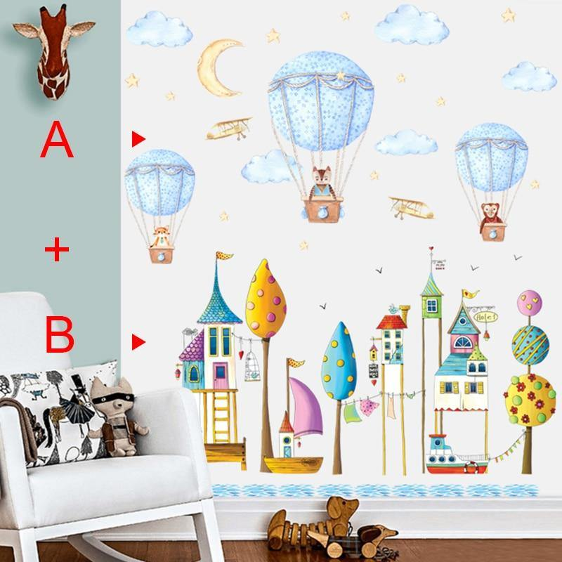 Infant Cartoon Castle House Hot Air Balloon Wall Stickers from Gallery Wallrus | Eclectic Wall Art & Decor with Worldwide Shipping