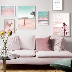 Light Pink & Blue Surf Beach Art Gallery from Gallery Wallrus | Eclectic Wall Art & Decor with Worldwide Shipping