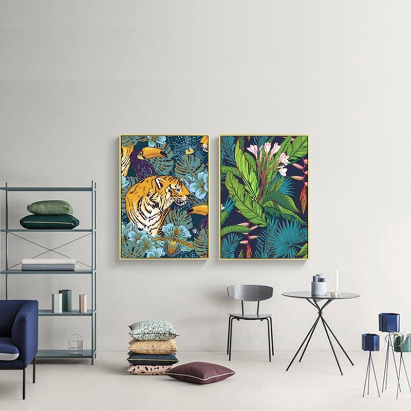Twin Set of Tiger Jungle Artworks from Gallery Wallrus | Eclectic Wall Art & Decor with Worldwide Shipping