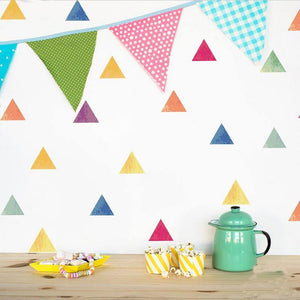 Assorted Colors Nursery Triangles Wall Stickers from Gallery Wallrus | Eclectic Wall Art & Decor with Worldwide Shipping