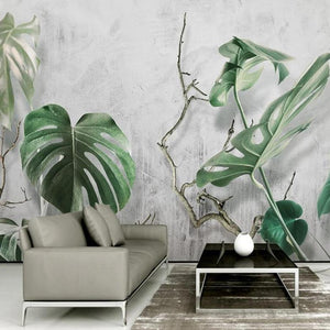 Monstera Branch Leaves Wall Mural from Gallery Wallrus | Eclectic Wall Art & Decor with Worldwide Shipping