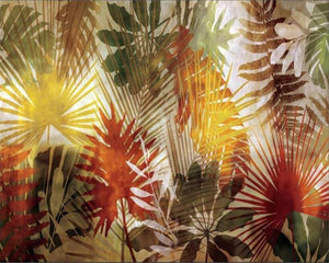 Summer Red and Yellow Plants Leaves Wall Mural from Gallery Wallrus | Eclectic Wall Art & Decor with Worldwide Shipping