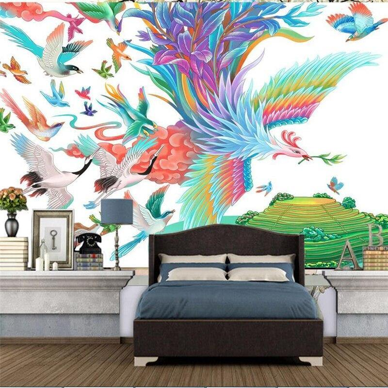Colorful Big Phoenix Bird Wall Mural from Gallery Wallrus | Eclectic Wall Art & Decor with Worldwide Shipping