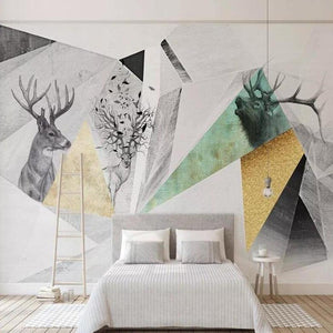 Elk Abstract Geometric Wall Mural from Gallery Wallrus | Eclectic Wall Art & Decor with Worldwide Shipping