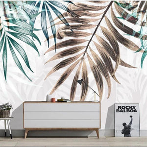 Brown and Green Palm Big Leaves Wall Mural from Gallery Wallrus | Eclectic Wall Art & Decor with Worldwide Shipping