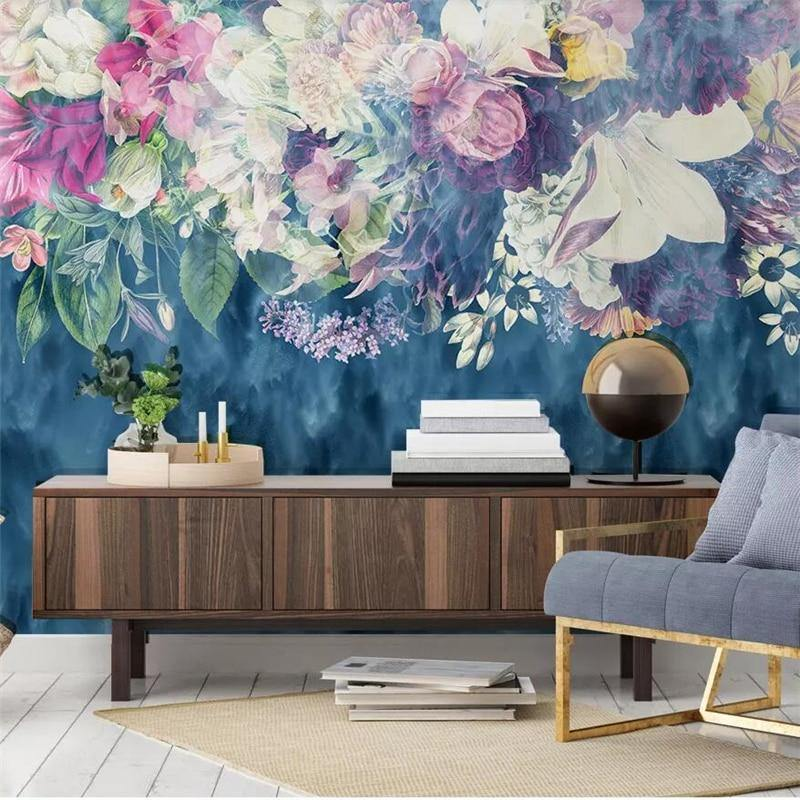 Dusky Blue Abstract Flowers Wall Mural from Gallery Wallrus | Eclectic Wall Art & Decor with Worldwide Shipping