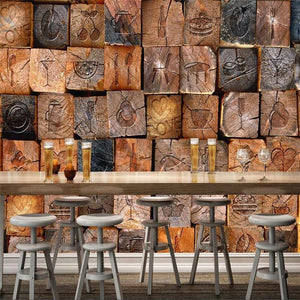 Wooden Blocks Wall Mural from Gallery Wallrus | Eclectic Wall Art & Decor with Worldwide Shipping
