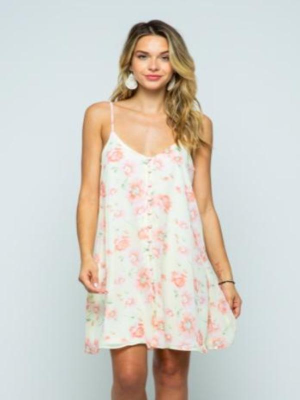 Reed Floral Button Down Dress-Yellow