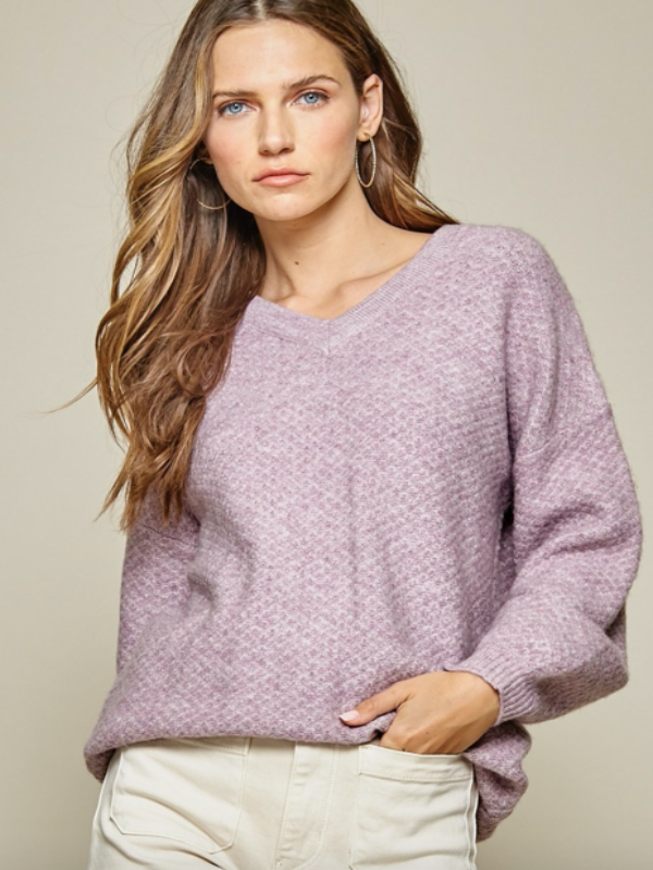 Cafe All Day Sweater- Lavender