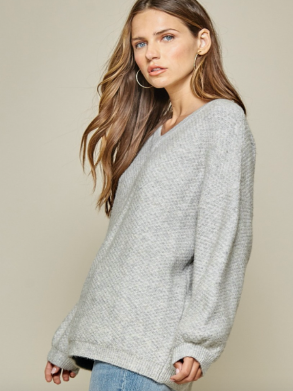 Cafe All Day Sweater- Grey