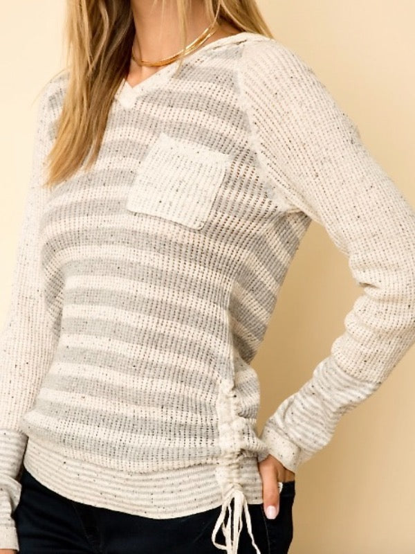 White Sands Pocketed Striped Hoodie