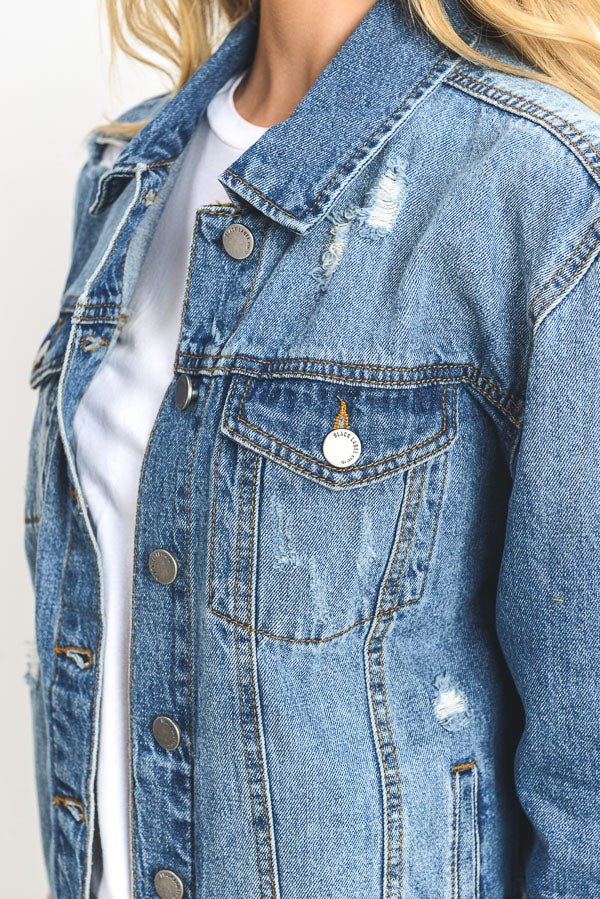 Rebel Distressed Jacket- Dark Wash