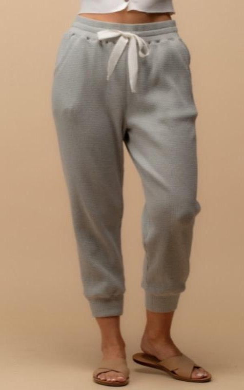 Thermal Drawstring Jogger- Grey