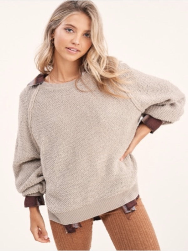 Carino Textured Sweater-Grey Taupe