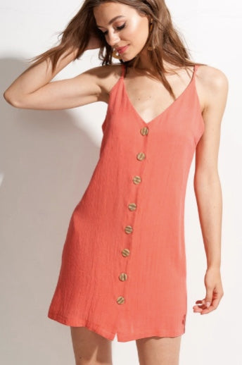 Venice Button Down Cami Dress- Coral