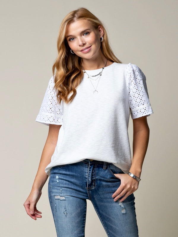 Lola Eyelet Sleeve Knit Top