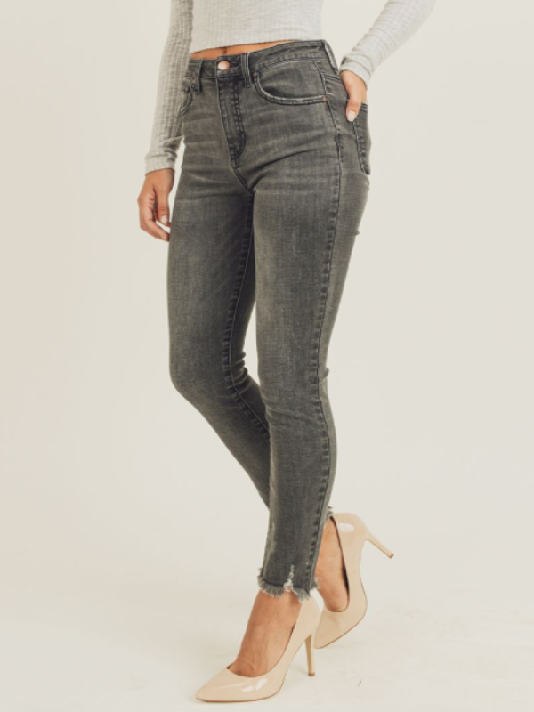 Georgette Frayed Ankle Skinny