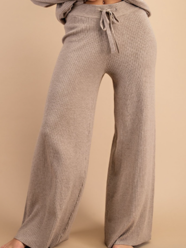 Campfire Ribbed Knit Pants- Oatmeal