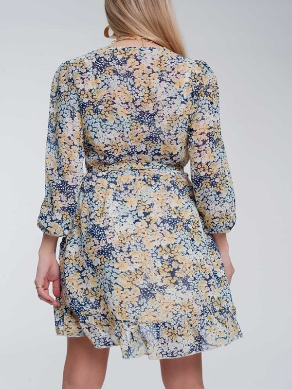 Emma Floral Dress- Blue - Lark & Lily Boutique
