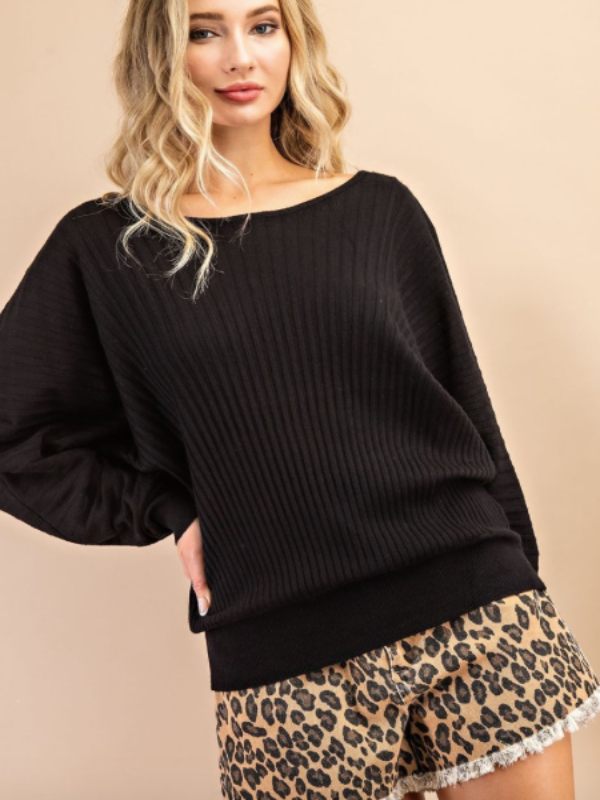 Campfire Knit Sweater- Black