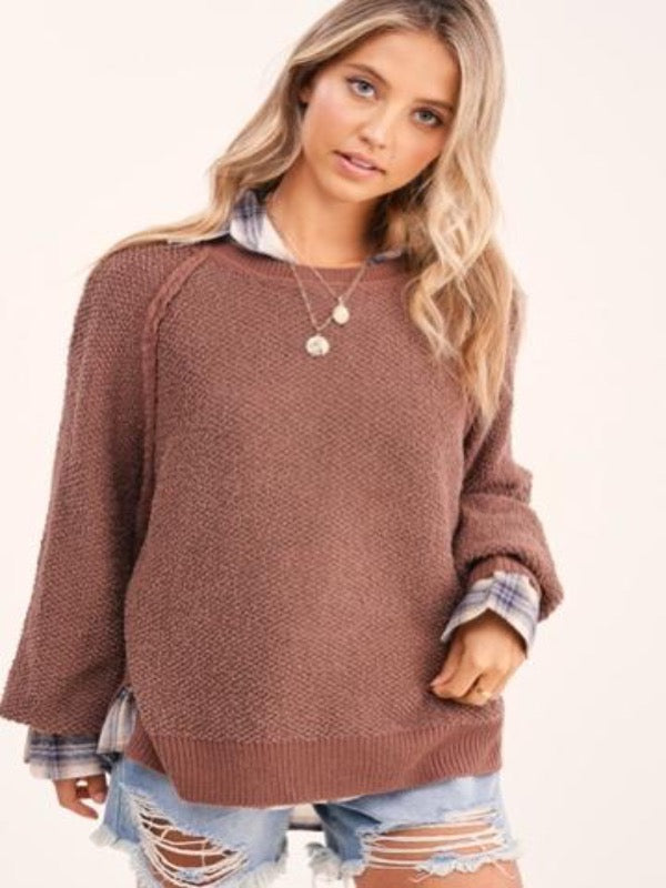 Carino Textured Sweater- Chocolate