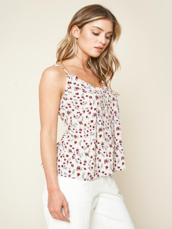 Brookside Floral Print Ruffle Cami