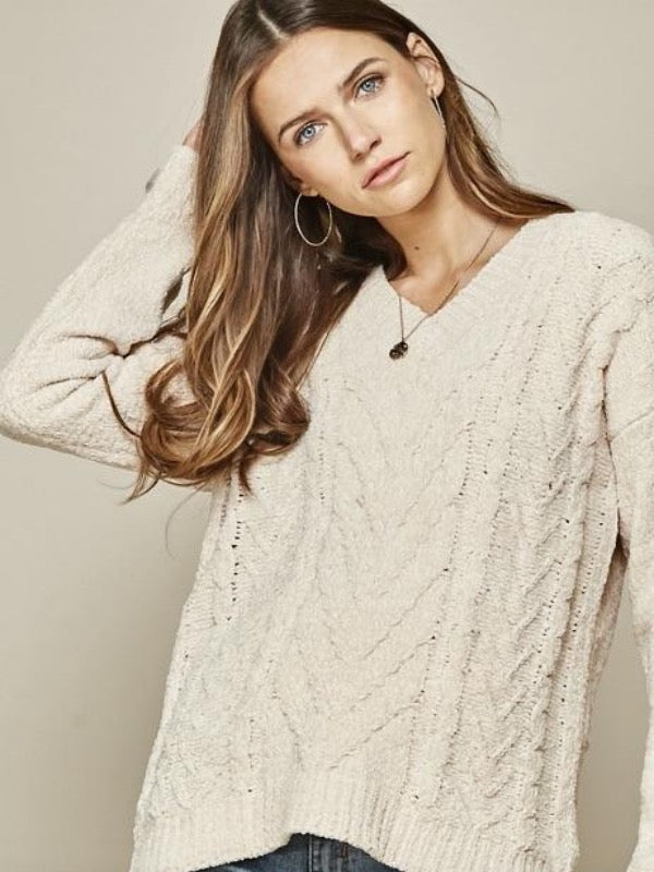 Lickety Split Cable Knit Sweater
