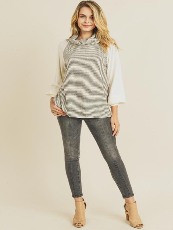 Mom & Pop Cowl Neck Top