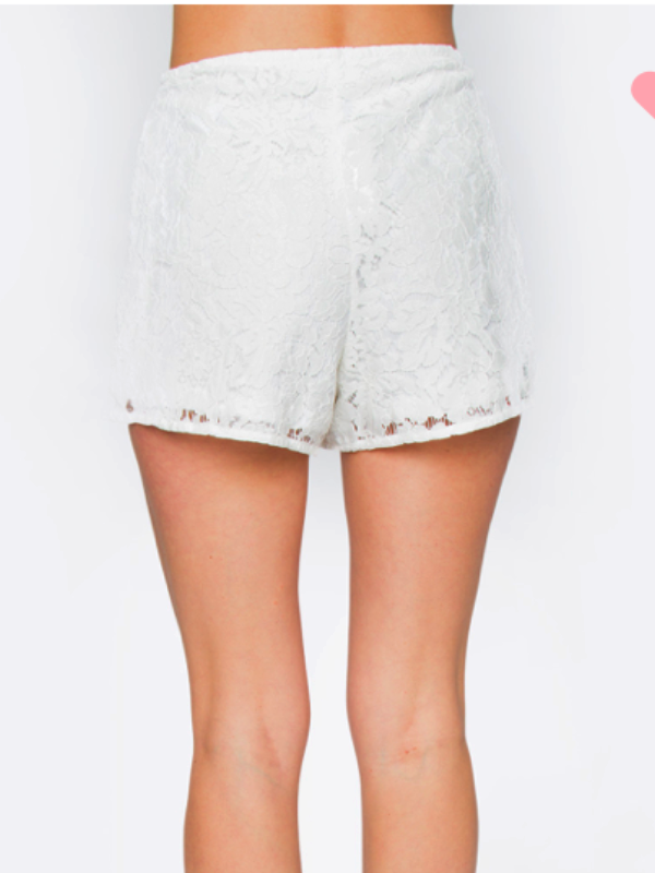 Verena Lace Shorts-White