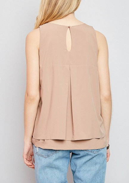 Jessa Tiered Tank- Taupe-FINAL SALE - Lark & Lily Boutique