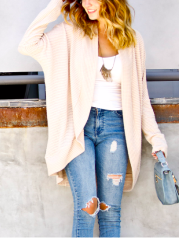 Seasons Change Waffle Knit Cardigan- Cream