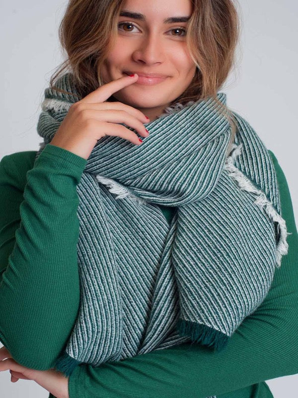 MIlan Frayed Scarf-Green