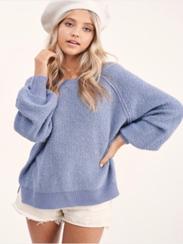 Carino Textured Sweater- Steel Blue