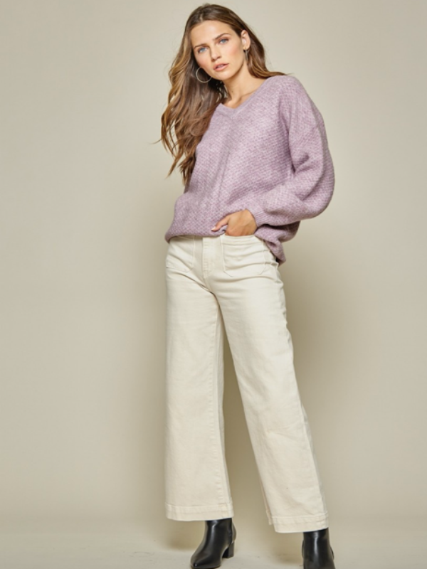 Cafe All Day Sweater- Lavender-FINAL SALE - Lark & Lily Boutique