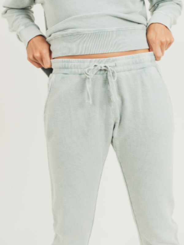 Mineral Washed Terry Joggers- Sage
