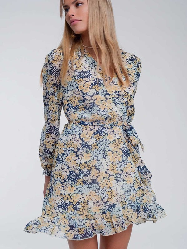 Emma Floral Dress- Blue