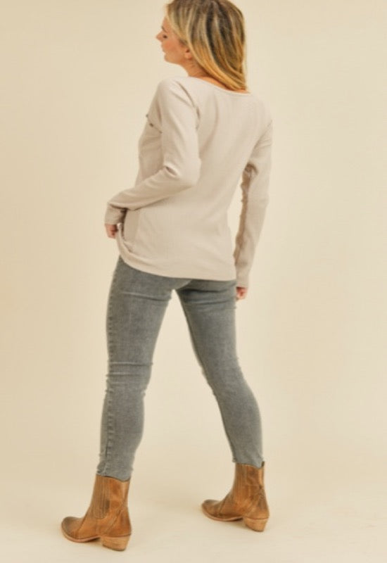 Karma Henley Top-Taupe