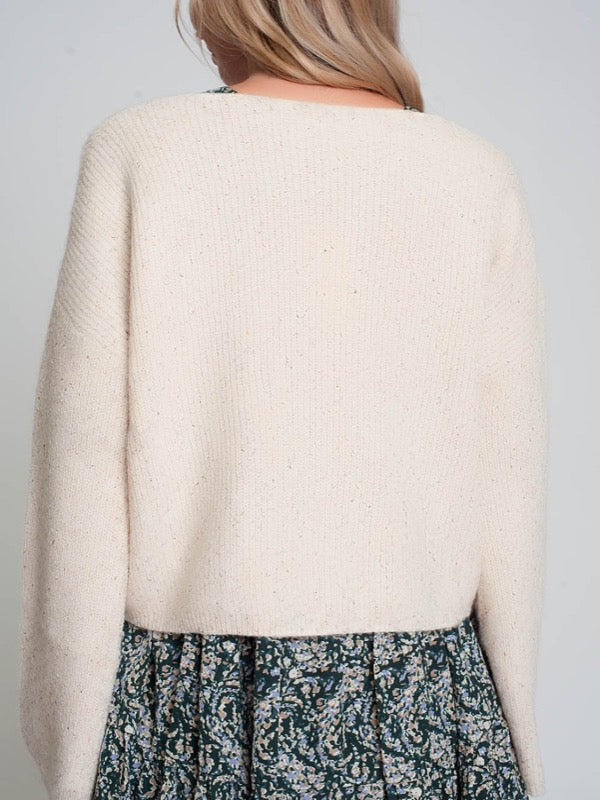 A Vibe Speckled Knit Sweater- Cream- FINAL SALE - Lark & Lily Boutique
